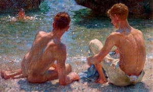 The Critics, a painting by Henry Scott Tuke, included in the exhibition Queer British Art 1861-1967 at Tate Britain.