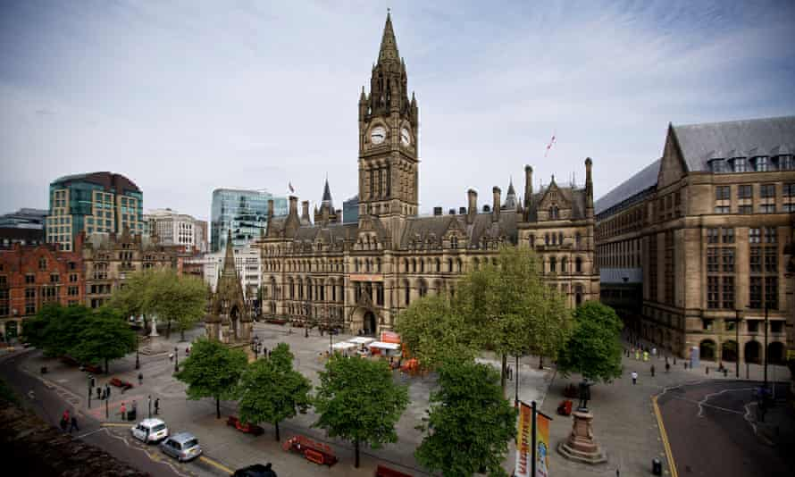Manchester Town Hall, the grade i listed neo-gothic building designed by architect Alfred Waterhouse and completed in 1877.