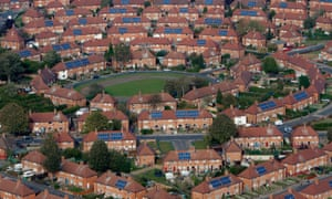 Aerial photograph of Aspley and Broxtowe areas of Nottingham showing the mass installation of solar panels on to residents houses.