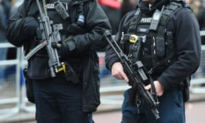 Armed police on the street: