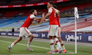 Pierre-Emerick Aubameyang celebrates after his, and Arsenal's, second goal.