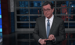 'Do we really want to elect another billionaire TV star? Granted, this one is actually a billionaire, actually a TV star,' said Stephen Colbert.