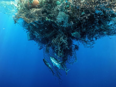 A huge ball of old nets and plastic waste in the North Pacific subtropical convergence zone – more commonly known as the Great Pacific garbage patch.