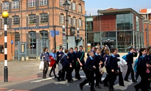 Schoolchildren at the Museum of Science and Industry, Castlefield, city centre, Manchester
