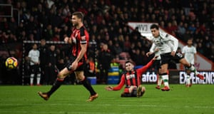 Liverpool's Philippe Coutinho fires in a shot against Bournemouth.