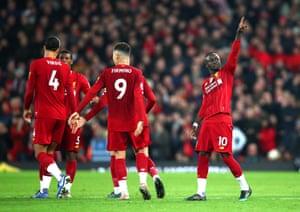 Sadio Mane of Liverpool celebrates.