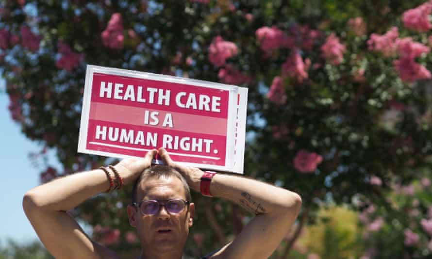 A protester at a demonstration for single-payer healthcare for alll Californians, South Gate, June 2017.