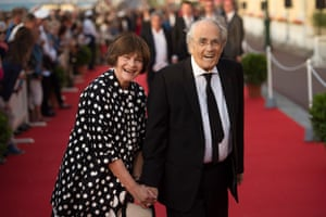 Busy … Michel Legrand and his wife Macha Méril attend at the Cabourg film festival in 2015.