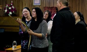 'They are people of the spirit' … a serpent service in West Virginia with Wolford's mother far left.