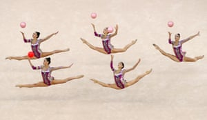 Italian athletes perform a ball routine at the final group all-around event of the FIG Rhythmic Gymnastics World Cup
