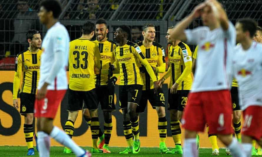 Dortmund celebrate their winner.