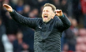 Ralph Hasenhüttl celebrates Southampton's victory over Aston Villa on 22 February.