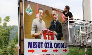 A poster showing Mesut Özil's meeting President Erdoğan in the Turkish town of Zonguldak, where the German footballer's family come from.