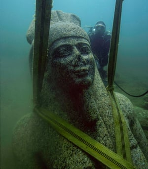 A colossal statue of the god Hapy, 4th century BC, from Sunken Cities at the British Museum.