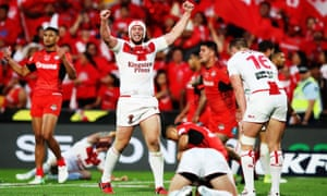 England's Chris Hill celebrates beating Tonga in the Rugby League World Cup semi-finals