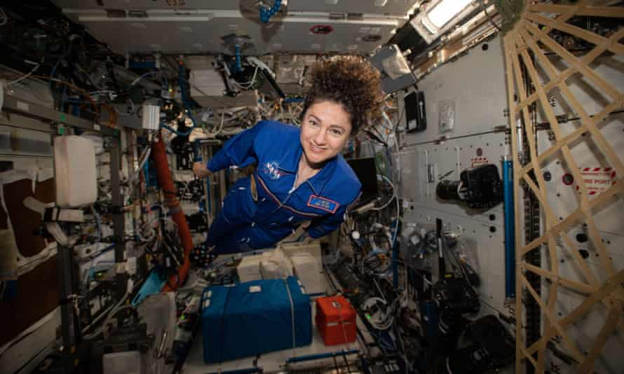 Expedition 62 flight engineer Jessica Meir hovers for a portrait in the weightless environment of the International Space Station.