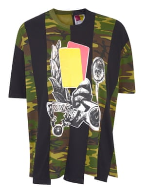 In the mixBritish menswear designer Liam Hodges brings his signature mash-up style to an exclusive collection for Urban Outfitters, fusing together skater chic, workwear and football kit influences in wide silhouettes and patchwork pieces. Upcycled T shirt, £75, urbanoutfitters.eu