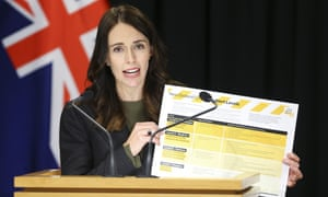 Prime Minister Jacinda Ardern holds up information on Covid-19 alert levels during a press conference in New Zealand.