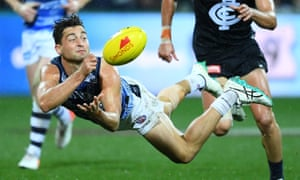 Luke Dahlhaus during the match between the Geelong Cats and the Carlton Blues at GMHBA Stadium on Saturday.