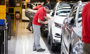 Workers on the production line at the Nissan car factory in Washington, near Sunderland.