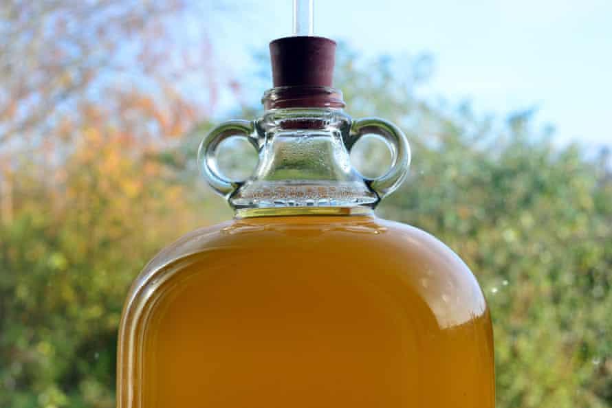 Cider fermenting in a demijohn