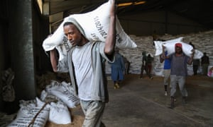 "Workers move sacks of emergency food supplies in and out of Ethiopia's largest ""strategic grain reserve"" depot in Adam"