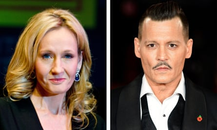 Harry Potter author JK Rowling and actor Johnny Depp, who plays Grindelwald in the Fantastic Beasts film series.
