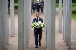 London, UK Mayor Sadiq Khan lays a wreath at the 7 July Memorial in Hyde Park to mark the anniversary of the 2005 terrorist attacks in London that killed 52 people