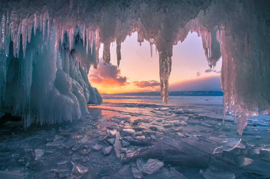 The frozen Lake Baikal in Siberia.