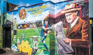 A Celtic and Barcelona mural in West Belfast depicting Patrick O'Connell