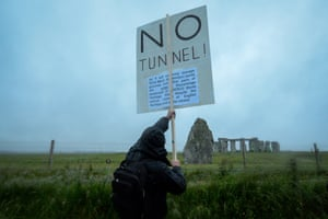 A protester demonstrated towards the tunnel.