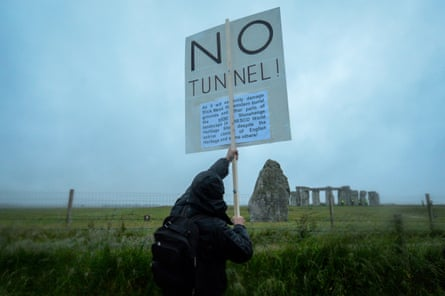 A protester demonstrates against the tunnel.