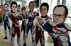 The G7 leaders are portrayed as superheroes