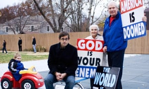 Theroux with Pastor Fred Phelps while filming with the Westboro Baptist Church in 2007