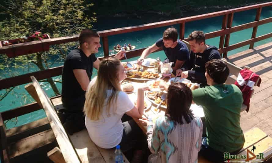 Camp Highlander, on the Tara river in Bosnia, food