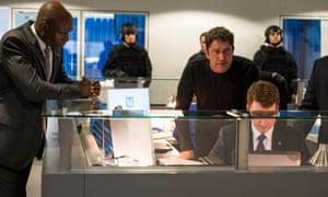 Gerard Butler, centre right, in Angel has Fallen.
