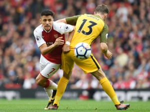 Alexis Sanchez of Arsenal takes on Pascal Gross of Brighton as The Gunners win 2-0 at the Emirates Stadium.