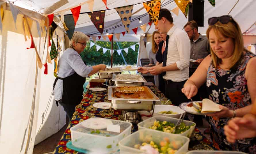 Ingredients rejected by retailers are served to wedding guests at Charlotte and Nick Baker's wedding.