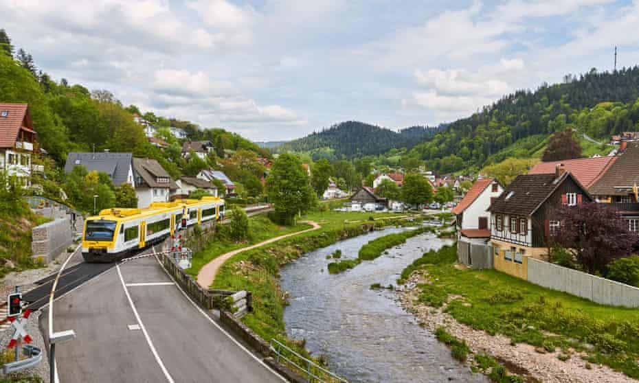 A train in the Black Forest village of Schiltach.