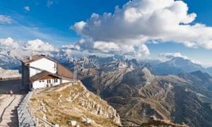 View of the Dolomites and Rifugio Lagazuoi, Italy