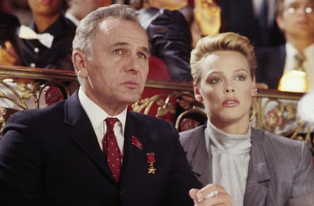 Brigitte Nielsen and Michael Pataki in Rocky IV, 1985, which was directed by Sylvester Stallone. Stallone and Nielsen married the same year.