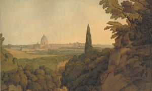 St Peter's at Sunset, from Above the Arco Oscuro,1781, by Francis Towne