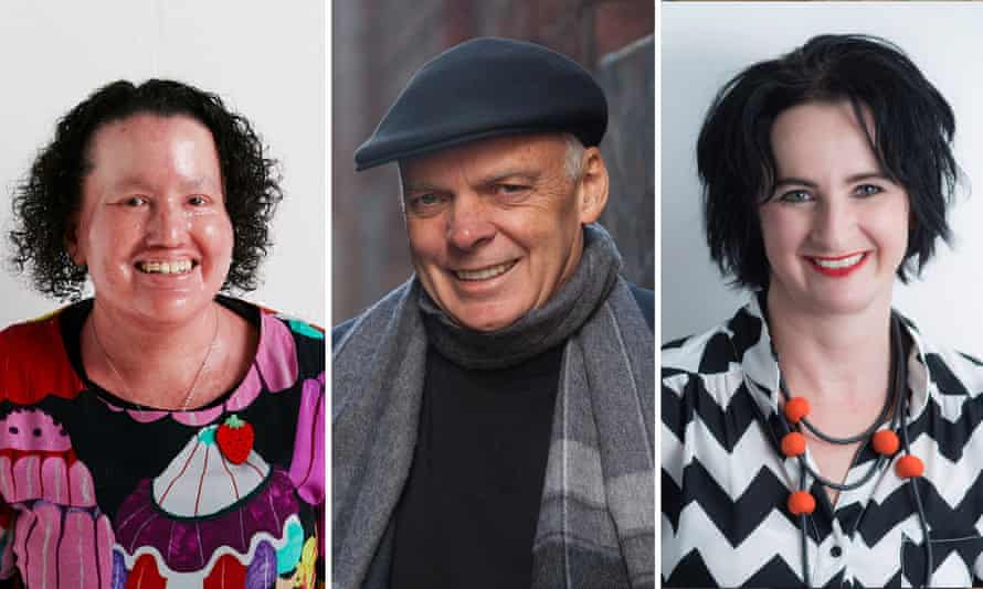 (Left to right) Australian authors Carly Findlay, Graeme Simsion and Ginger Gorman