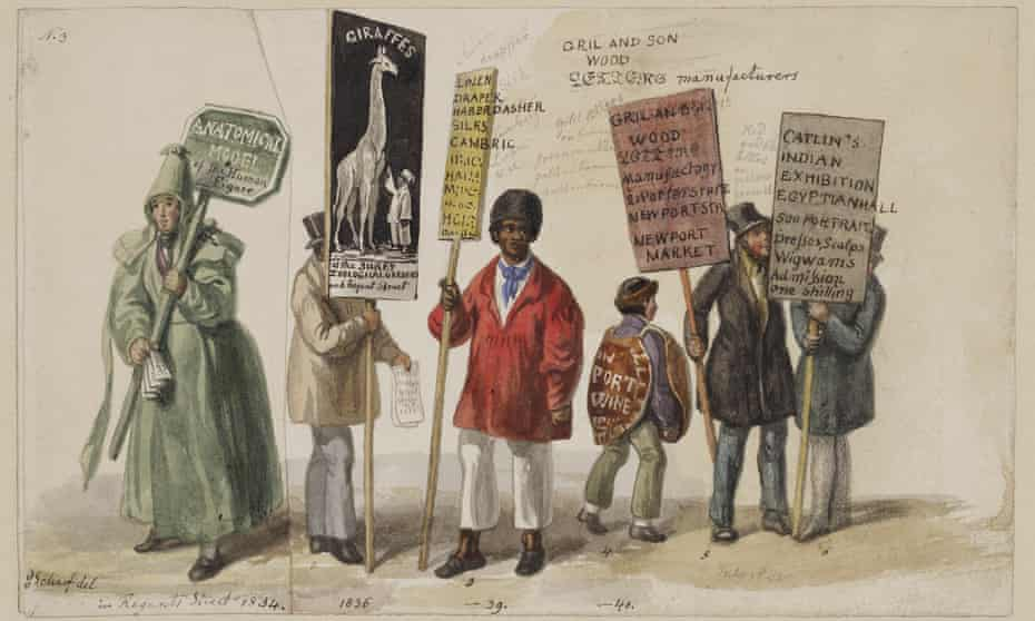 West End placard men by George Scharf, 1834-40.