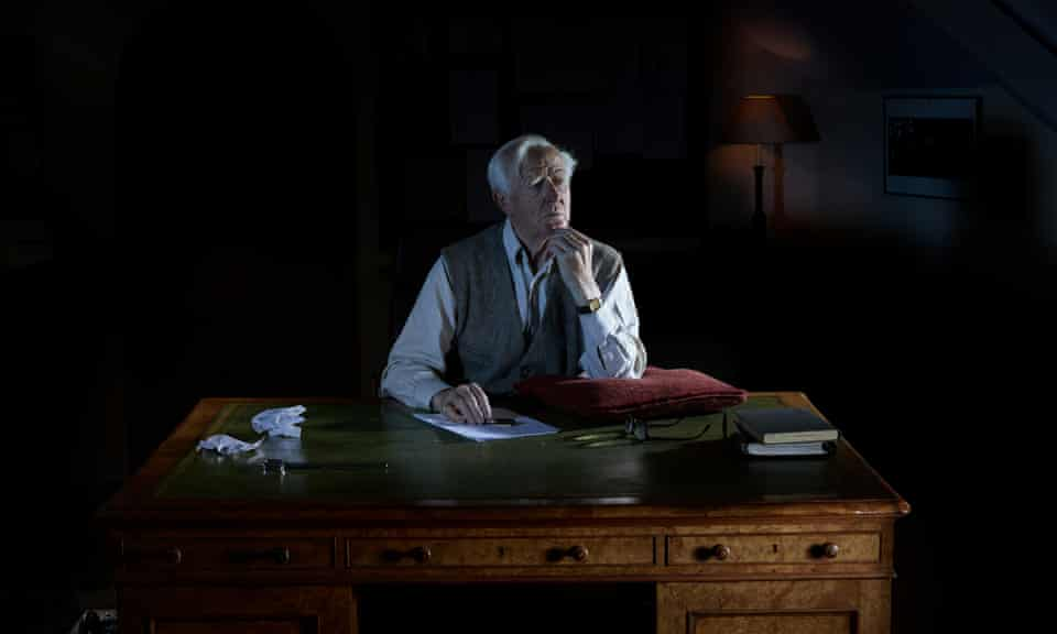 John Le Carre, sitting at his desk, in Penzance 2016
