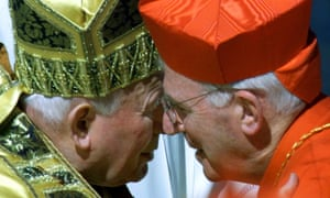 Cormac Murphy O'Connor kisses Pope John Paul II after being made a cardinal, Rome, 2001.