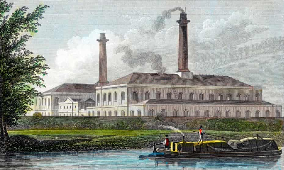A print showing a barge passing by gasworks on Regent's canal, London, 1828