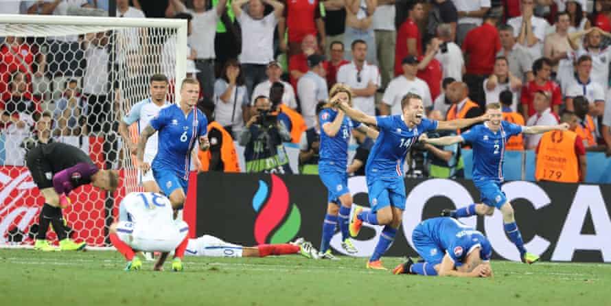 Kari Arnason leads the celebrations as Iceland knock England out of Euro 2016.