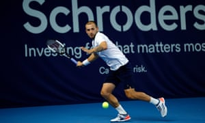 Dan Evans triumphed in his first meeting with Andy Murray at the Battle of the Brits.