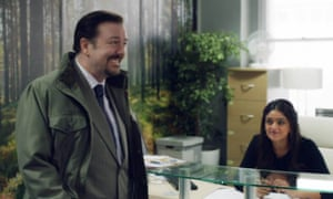 New office, same fool … Ricky Gervais and Mandeep Dhillon.